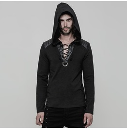 Punk Rock Black Knitted Hooded Drawstring Detailed Collar Sweater For Men