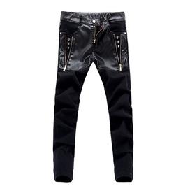 Punk Rock Skull Vegan Leather & Jeans Men Pant