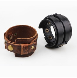 Punk Rock Double Leather Men Bracelet