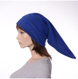 Royal Blue Elf Hat Made Of Fleece Pointed Cap
