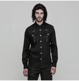 Black Gothic Punk Military Style Long Sleeve Shirt For Men Oy 875