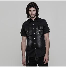 Black Gothic Punk Do Old Style Short Sleeve Shirt For Men Y 861