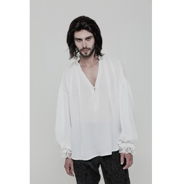 White Vintage Gothic Loose Shirt For Men Wy 852 Wh