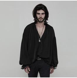 Black Vintage Gothic Loose Shirt For Men Wy 852 Bk