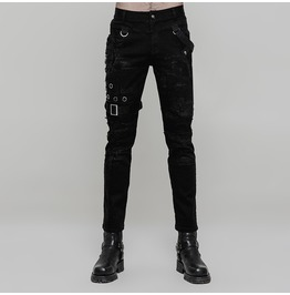 Black Gothic Punk Personality Vintage Trousers For Men Wk 319