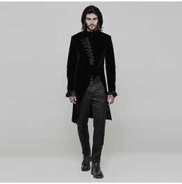 Black Vinatge Gothic Simple Three Quarter Coat For Men Oy 867