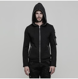 Black Gothic Punk Short Hooded Sweater For Men Oy 869