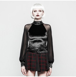 Women's Velour Goth Shirt With Net Sleeves