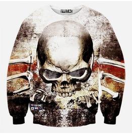 3 D Grunge Skull & Bones Men Sweatshirts