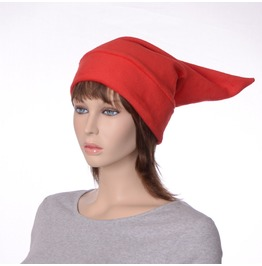 Elf Hat Bright Red Pointed Cap Made Of Fleece