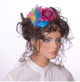 Blue Velvet Teardrop Fascinator Headband Deep Rose Pink Flower Feathers