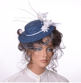 Steampunk Mini Straw Hat In Dark Blue With White Trim Birdcage Veiling