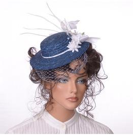 Steampunk Mini Straw Hat In Dark Blue With White Trim Birdcage Veiling