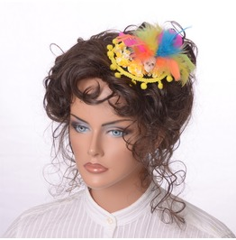 Mini Hat In Black Yellow With Feathers Flowers Skull Day Of Dead Hairclip