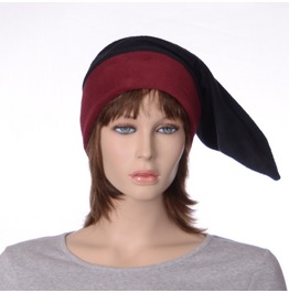 Dark Elf Cap Burgundy And Black Pointed Gothic Dwarf Hat Fleece