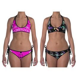 Pink Ouija Bikini Hologram Houndstooth Reversible Swimsuit