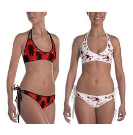 Red Nosferatu Bikini Blood Reversible Swimsuit Bloody Horror Goth Swimwear