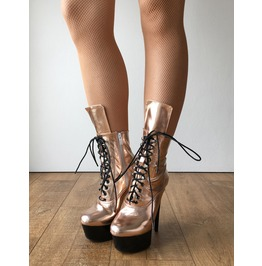 Rtbu Babe 15cm Platform Ankle Lace Zip Boots Kawaii Punk Metallic Rose Gold