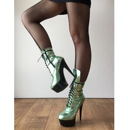 Rtbu Babe 15cm Platform Ankle Lace Up Zip Bootie Kawaii Punk Metallic Mint