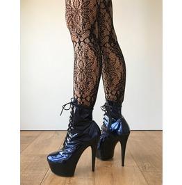Rtbu Babe 15cm Platform Ankle Lace Up Zip Bootie Kawaii Punk Metallic Blue