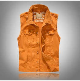 Orange Ripped Denim Men Vest