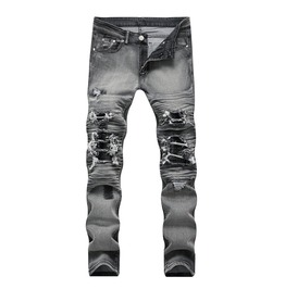 Distressed Ripped Biker Grey Men Jeans