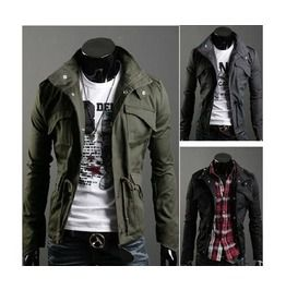 Slim fit turn down stand collar pockets men jacket parkas jackets