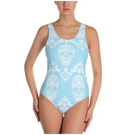 Blue Victorian Skulls Swimsuit Skeleton Swimwear One Piece