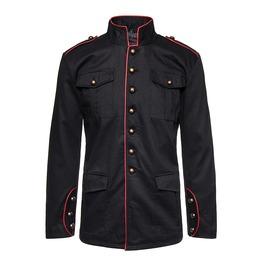 Men Gothic Shirt Golden Button Steampunk Drummer Boy Military Jacket Red Li
