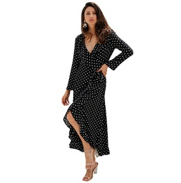 V Neck Side Slit Long Sleeve Polka Dot Ruffle Wrap Dress
