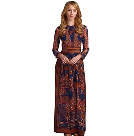 Animal Floral Print Boho Gypsy Chiffon Long Maxi Dress