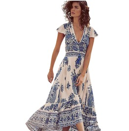 Deep V Neck Floral Print Vintage Boho High Slit Chiffon Maxi Dress