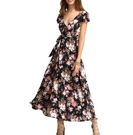 Short Sleeve V Neck Floral Print Bind Backless Long Maxi Dress