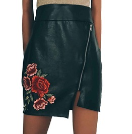 Vintage Boho Pu Leather Floral Embroidered Irregular Bodycon Mini Skirt