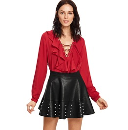 Pu Leather Flared High Waist Mini Skirt Pearl Embellished Zip Side