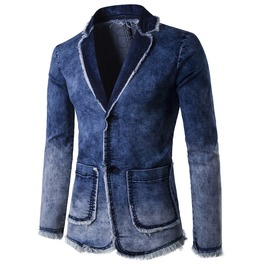 Spring Denim Washed Blazer Men Jacket