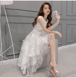 Women's Fashion Lace Long Maxi Dress Evening Party Bridesmaid Wedding Dress