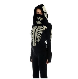 Skeleton Print Zipper Hoodie Womens Outerwear Punk