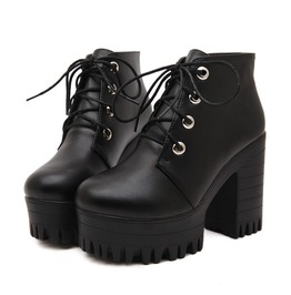 Lace Up Platform Booties Womens Shoes Autumn Spring