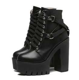 Ankle Buckle Lace Up Rockstar Platform Boots Booties Womens Shoes