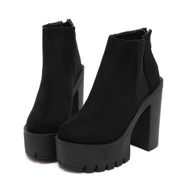 Suede Ankle Boots Platform Booties Womens Shoes