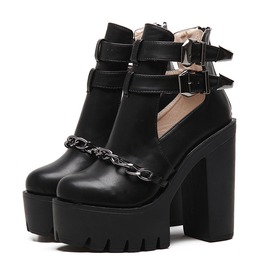 Chain Side Buckle Platform Boots Booties Womens Shoes