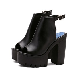 Open Toe Summer Autumn Platform Booties Womens Shoes Black White