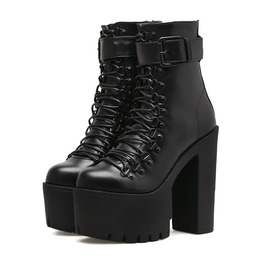 Dark Angel Lace Up Platform H Igh Heel Boots Womens Shoes