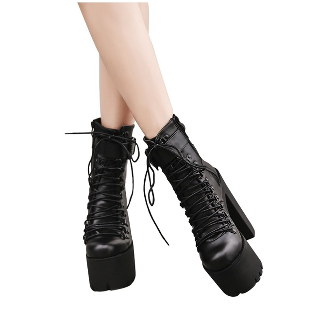 Platform Heel Igh Womens Shoes Lace Dark Up H Boots Angel