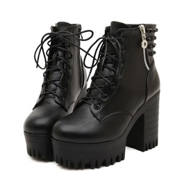Dark Forest Chrome Lace Up Platform Boots Booties High Heels Womens Shoes