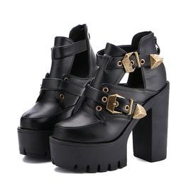 5b4753d0abc2 Dark Forest Open Ankle Platform Pumps Womens Shoes High Heels