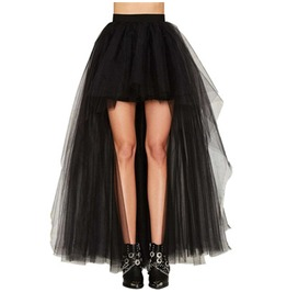 Punk Goth Black Mesh Asymmetrical Tutu Women Skirt