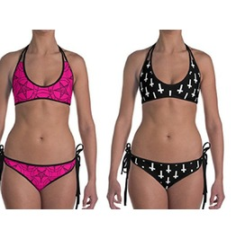 5cd6861352 Pink Pentagram Bikini Baphomet Upside Down Cross Reversible Swimsuit