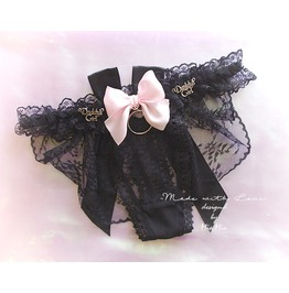 Daddys Girl Lingerie Ruffles Black Lace Thong Pantie Pink Bow O Ring Back B